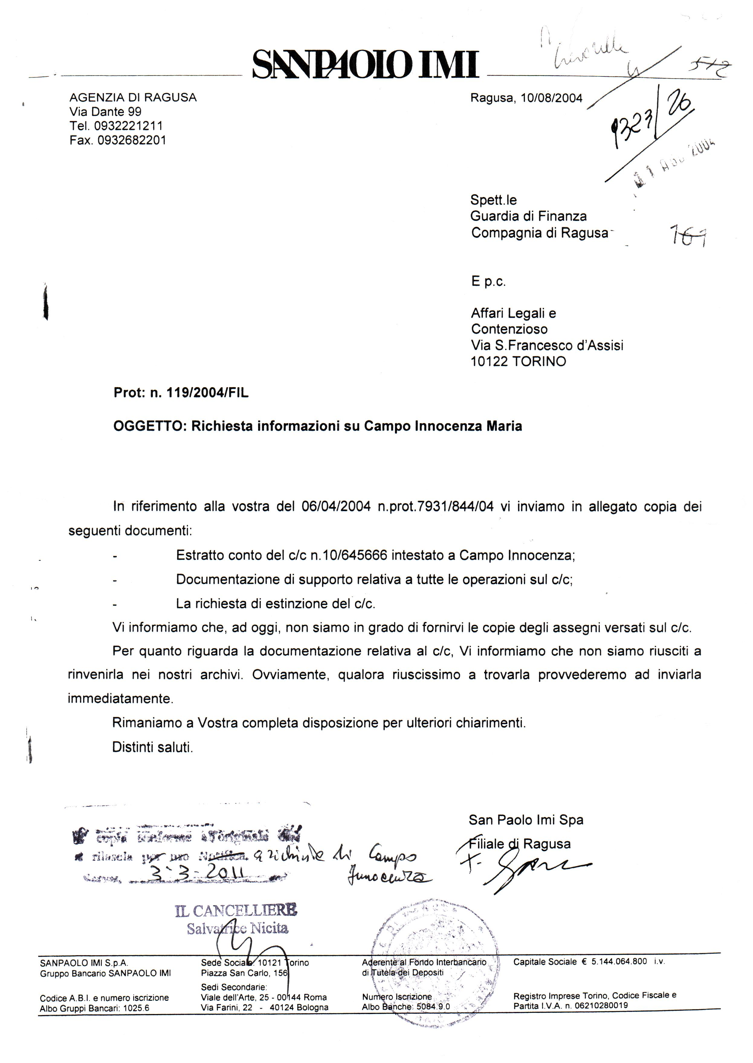 Forza nuova coordinamento ibleo un conto corrente for Unito lettere